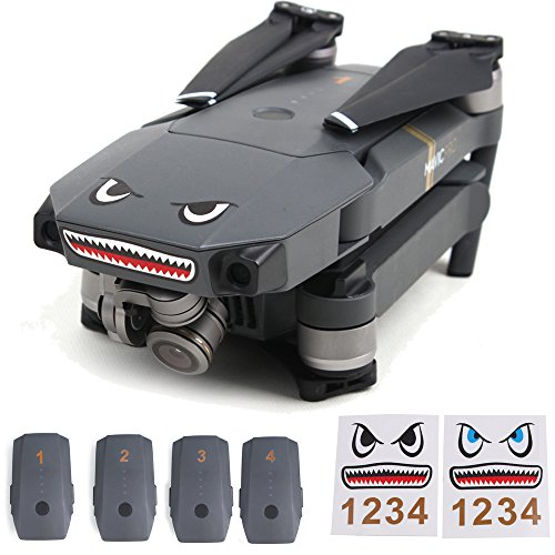 Flycoo 2 Sets Drone Commission Intractable splodge Razor-abruptly-hearted Shark 3M Aufkleber Haifisch Decals mit Akku Nummer Aufkleber Für DJI MAVIC PRO / Atom