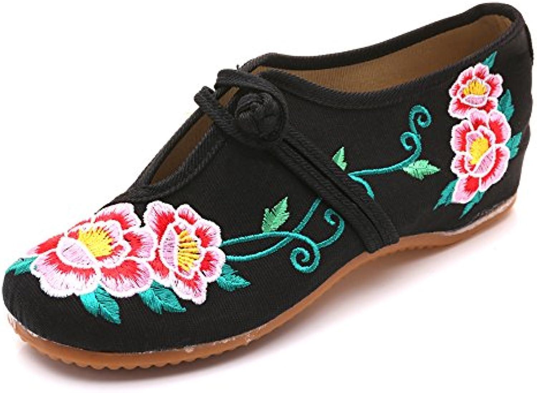 Fanwer Bordado de La Peonía Casual Suave Suela Mary Janes Mujeres Caminando Pisos Zapatos de Gran Tamaño
