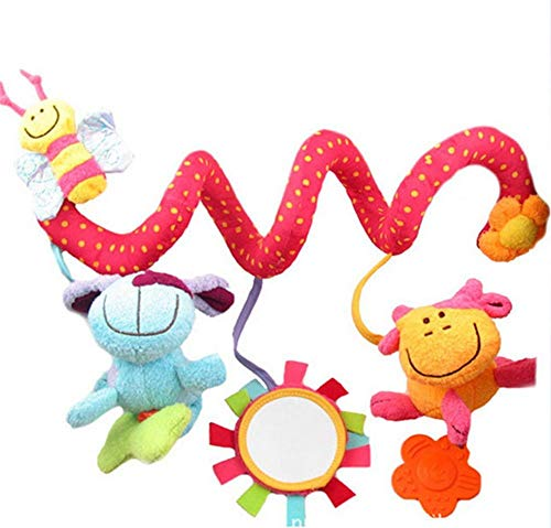 LILITRADE Juguetes Colgantes Espiral de Animales para Cuna Cochecito Carrito bebés Recien Nacidos Peluche con Mordedor para niños niñas Arrastrar (Abejita)