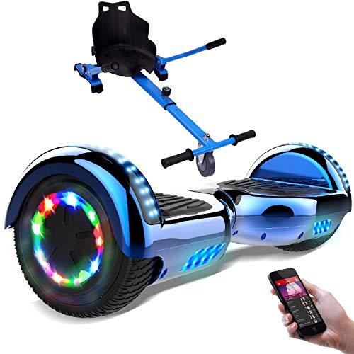 RCB Hoverboard 6.5 Pulgadas, Auto Equilibrio Patinete eléctrico, Ruedas de Luz LED, Bluetooth, Motor Brillante 700W (Chrome Blue)