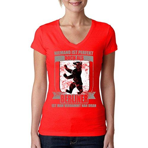 Fun Sprüche Girlie V-Neck Shirt - Perfekter Berliner by Im-Shirt Rot