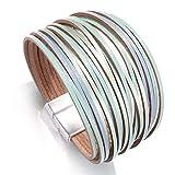 Armband Armreif,Schmuck Geschenk, Bohemian Leather Bracelets for Women Ladies Slim Strips Multilayer Wide Wrap Bracelet Female Jewelry Gift Green