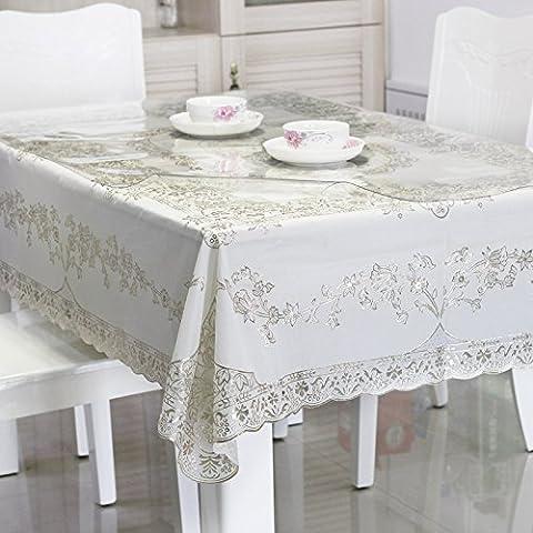 DSAAA Einfachheit moderner PVC-Tischdecke transparent weichem Glas und Bettwäsche Tischdecke Tuch Silber Blume 90 * 90cm