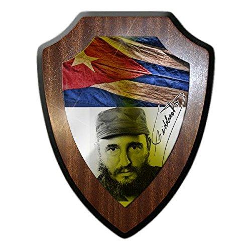Wappenschild - Fidel Castro Kuba Unterschrift Havanna Revolutions Regierungschef Staatspräsident Staatsoberhaupt Gedenken Präsident Ehren 68er Fahne Tafel Andenken Deko #19652