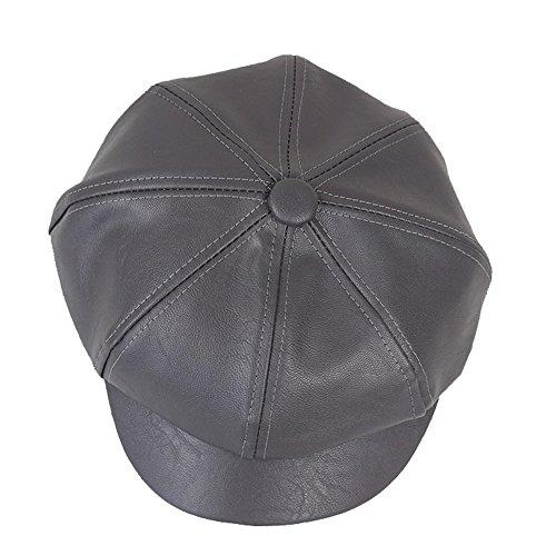 WETOO Schirmmützen Barett Leder Mütze Gatsby Newsboy Cap Kappe PU Baskenmütze für Damen