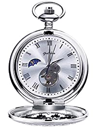 Pocket Watch Retro Smooth Mechanical Skeleton Roman Numerals Antique Pocket Watch for Men with Chain Silver