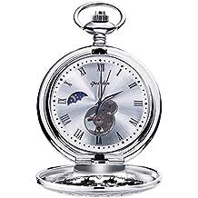 0aec1250f4a2 Relojes de Bolsillo Retro Suave Mecánico Skeleton Roman Numerales Antiguo  Reloj de Bolsillo para Hombre con