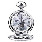 Relojes de Bolsillo Retro Suave Mecánico Skeleton Roman Numerales Antiguo Reloj de Bolsillo para Hombre con Cadena Plata