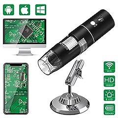 Idea Regalo - Microscopio Digitale WiFi,HEYSTOP Mini Telecamera 1080P HD 2MP,Endoscopio Ingrandimento 1000X,8 LED Microscopio Digitale USB 2.0 con Supporto in Metallo per iPhone IOS Android Phone ipad Windows MAC