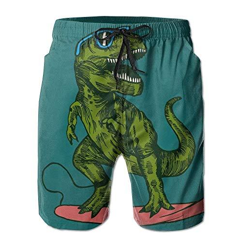 ZHIZIQIU Dinosaur Surfer Sunglasses Summer Quick-Drying Board Short Beach Pants for Men - M