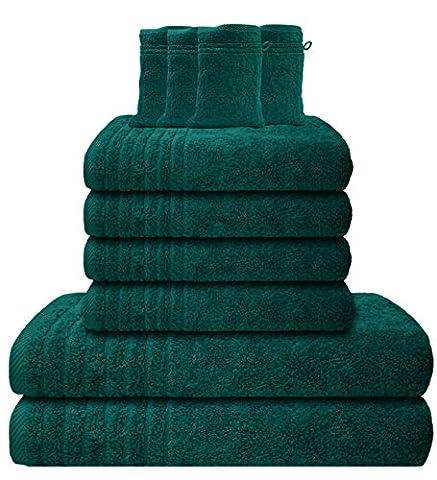 Gallant 10 tlg Handtuch-Set 4 Handtücher 50x100 cm 2 Duschtücher / Badetücher 70x140 cm 4 Waschhandschuhe 16x21 cm 100% Baumwolle