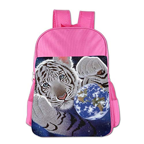 Tiger Earth Space Art Children School Backpack Carry Bag for Youth Boy Girls Tiger Stand Bag