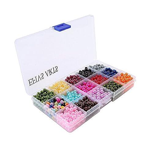 Efivs Arts 2500pcs Multicolore Perles de 6mm Cube breloques pour DIY Bracelets, colliers, porte-clés et bijoux Kid Bead Box Kit, Noir