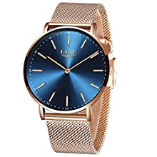 LIGE Women Watches Men Fashion Casual Ultra-Thin Unisex Women Men Watches Waterproof Simple Analog Quartz Watch for Men Slim Gold Blue Stainless Steel Mesh Elegant Gents Dress Wristwatch