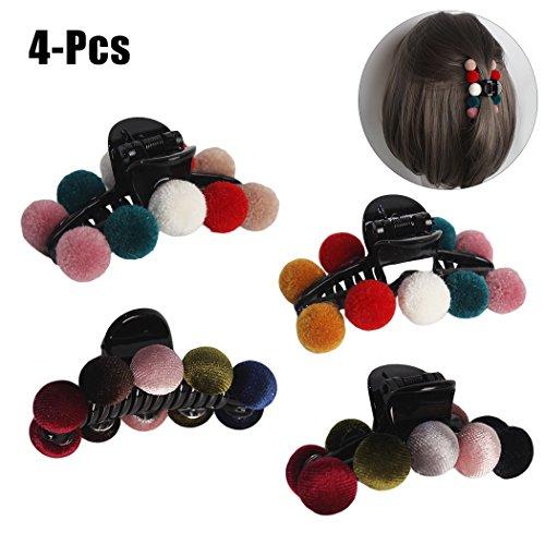 Femmes pince à cheveux, Fascigirl 4PCS Clip de la mâchoire de la mode de la mode Creative Mix Couleurs Pom Poms Acrylique Non-Slip Griffe Clip Cheveux Clamp Accessoires de cheveux