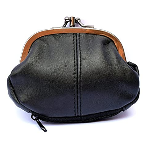Ladies Small Soft Real Leather Clasp Purse - Clip Top Purse with Zip at Bottom