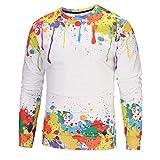 Herren Pullover -Herrenmode Casual Farbe 3D Print Langarm Pullover Sweatshirt Top Bluse- Freizeit Top -Langarm Blusen -Outdoorbekleidung Oberteile-Jumper Pullover Oberteile (Mehrfarbig,L)