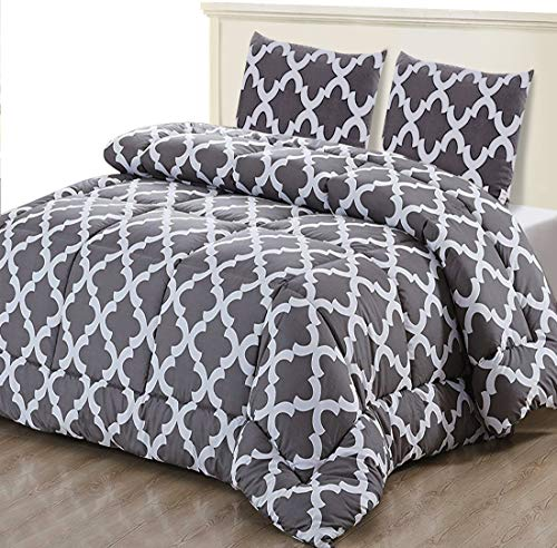 Utopia Bedding Bettdecke-Set - Sommerdecke mit Kissenbezuge - Leichte Bettdecke (800g Füllung) - (200 x 200 cm, Grau)
