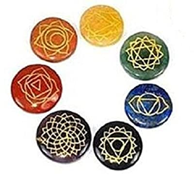 7 Chakra Symbole Edelstein-Set in einem Beutel von Find Something Different for You