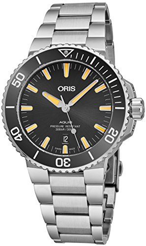 Oris Aquis Date Mens Stainless Steel Automatic Diver Watch - 43mm Analog Black Face Swiss Luxury Waterproof Dive Watch For Men 01 733 7730 4159-07 8 24 05PEB