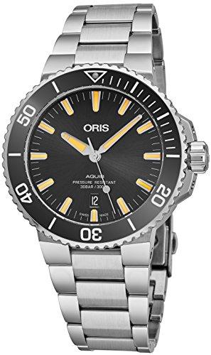 Oris Aquis data uomo acciaio orologio automatico Diver–43mm analogico nero viso Swiss lusso impermeabile Dive orologio per uomini 0173377304159–0782405PEB