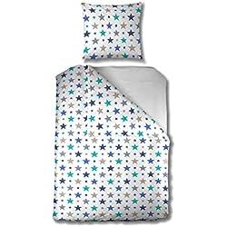 Aminata Kids - Kinder-Bettwäsche-Set 135-x-200 cm Stern-e-Motiv Star Sternchen 100-% Baumwolle Renforce Weiss hell-blau beige Taupe Teenager Jugendlich-e
