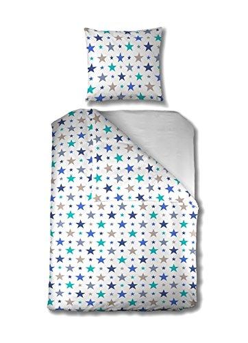 Aminata Kids - Kinder-Bettwäsche-Set 135-x-200 cm Stern-e-Motiv Star Sternchen 100-% Baumwolle Renforce Weiss hell-blau beige Taupe Teenager Jugendlich-e (Kinder Bettbezug Queen)