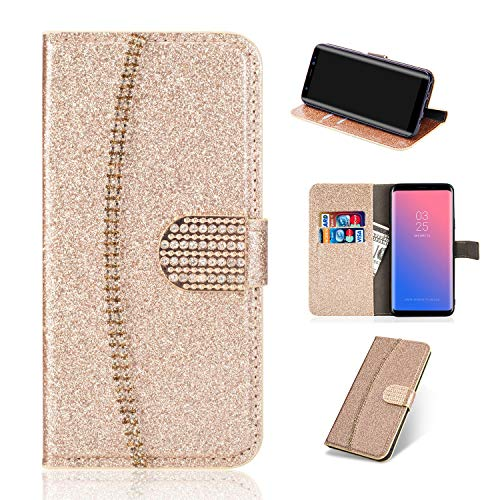 Artfeel Leder Brieftasche Hülle für Samsung Galaxy Note 8, Bling Glitzer Kristall Strass Flip Handyhülle mit Kartenhalter,Luxus Diamant Magnetverschluss Bookstyle Stand Hülle-Funkeln Gold