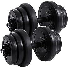 Songmics 20 kg Juego de pesas Mancuernas de fitness Ideal para hombres Negro SYL20H