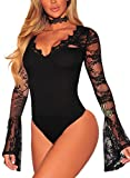 Asvivid Women's Lace V-Neck Floral Bell Long Sleeves Sexy Bodysuit Stretchy Leotard Top Small Black