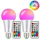 Cambia colore lampadina 10W E27 Edison RGBW luci ,120 color Choices, RGB + bianco caldo colorato, Dual RAM ,60 Watt equivalente telecomando incluso per casa feste Mood Ambiance Lighting, 2-pack