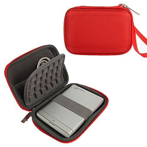 Khanka Portable EVA Hard Case Travel Carry Bag Cover for Western Digital WD My Passport Ultra /Toshiba Canvio/Seagate Backup Plus Slim/Transcend 1TB 2TB External Hard Drive (Red)  available at amazon for Rs.1333