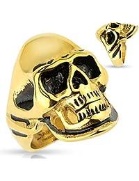 Hombre Cool Body Art dedos Ring Ring sigel Anillo con calavera Calavera de Acero Inoxidable en Negro de oro en diferentes tamaños