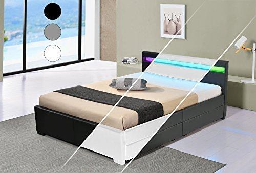 DRULINE LED Bett Vienna Doppelbett Polsterbett Lattenrost Kunstleder Gestell Bettkasten (160x200, Weiß)