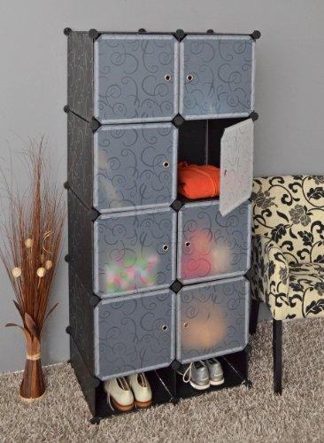 Ts Ideen 5147 armario modular con 8 compartimentos equipados con puertas y compartimento para zapatos, polipropileno, Negro
