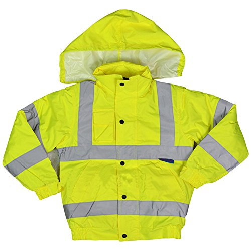 RG Clothing Unisex Kids High Visibility Bomber Jacket with Hood Boys Girls Hi Viz Jackets