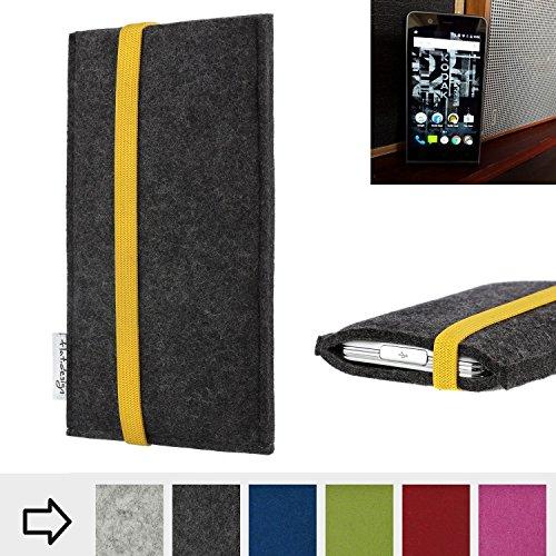 flat.design Handy Hülle Coimbra für Kodak Ektra passgenau Handytasche Filz Tasche fair schwarz gelb