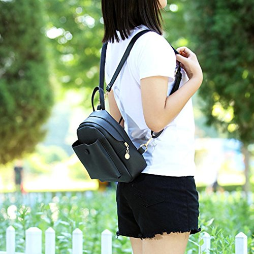 BZLine® Frauen Mini Rucksäcke Art und Weise lederner Schulter-Beutel-feste Rucksack Schwarz