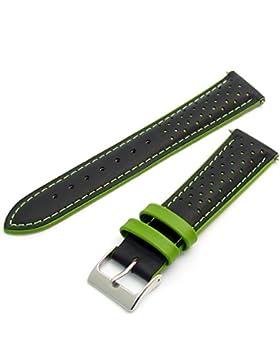 Genua echtem Gepolsterte Leder Layered Zweifarbige Uhrenarmband 22mm Grün/Schwarz