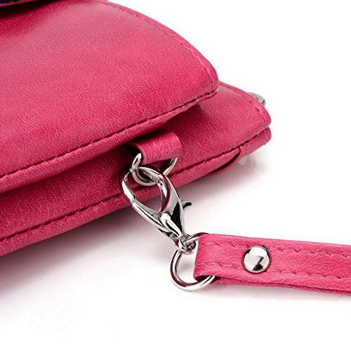 Kroo Pochette Portefeuille en Cuir de Femme avec Bracelet Étui pour Lava Iris 550q rouge - Red and Grey Rose - Magenta and Blue