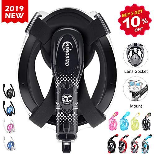 Version 3.0 Vollgesichtsmaske mit Gläserstütze Sportkamera Halterung Antibeschlag Schnorchelmaske Tauchermaske für Erwachsene und Kinder insbesondere Brilleträger ()