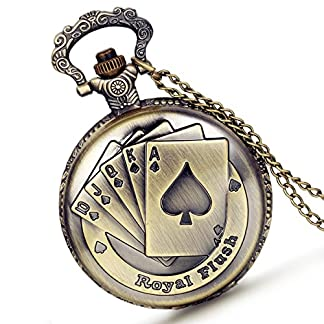lancardo-Vintage-Royal-Straight-Flash-Poker-Relief-Cover-Military-Time-24-Stunden-Pocket-Taschenuhr