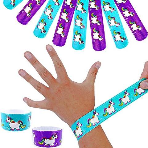 German Trendseller® - 12 x bracelets à claquer licorne�� �� ��animaux fabuleux┃l'arc en ciel┃couleurs vives┃ petit cadeau┃l'anniversaire d'enfant┃12 pcs