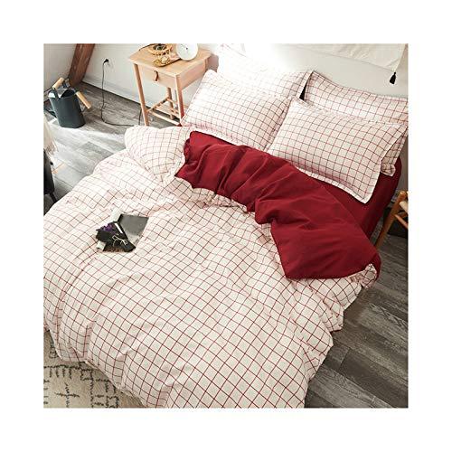 AmDxD Bettlaken, Bettbezug und Kissenbezügen aus Polyester Klein Plaids Design 3teilig Spannbetttuch Bettwäscheset Rot