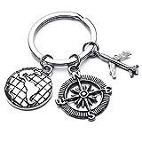 Lalang Schlüsselanhänger mit Anhängern, Legierung Keychain Auto Schlüsselring Handtasche Anhänger Beutel Kette, Flugzeuge, Kompass