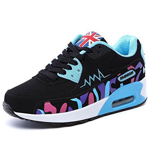 Wealsex Baskets Chaussures Jogging Course Gym Fitness Sport Lacet Sneakers Style Running Multicolore Respirante Femme noir et bleu clair pu cuir