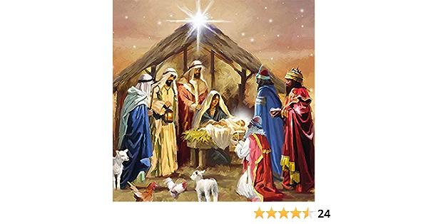 Christliche Geschenkideen Weihnachtliche Servietten mit Krippenmotiv 20 St/ück 3-lagig//Weihnachtsservietten