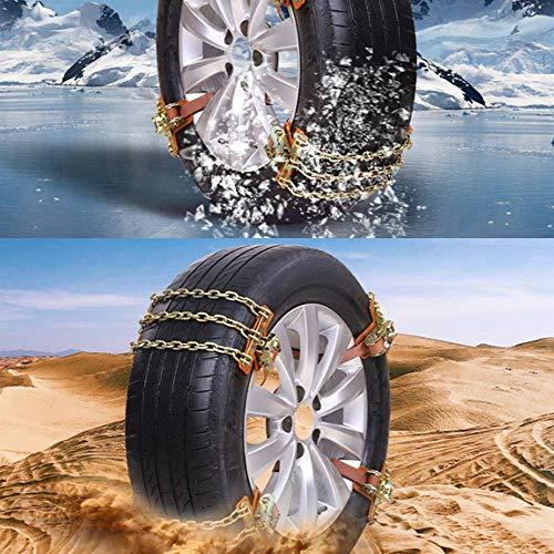 Xljh Neue 3 Ketten Balance Design Anti-Rutsch-Kette Verschleißfeste Stahl Auto Schneeketten für EIS/Schnee/Schlamm Straße sicher zum Fahren,S