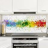 Bilderwelten Paraschizzi in vetro - Rainbow Splatter - Panoramico, Paraschizzi cucina pannello paraschizzi cucina paraspruzzi per piano cottura pannello per parete cucina, Misura (AxL): 40cm x 100cm