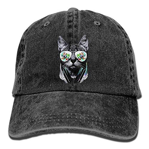 9323370bf57 NGDUTZ Dj Cat with Earphone Pet Animal Vintage Unisex Washed Cotton Twill  Low Adjustable Baseball cap